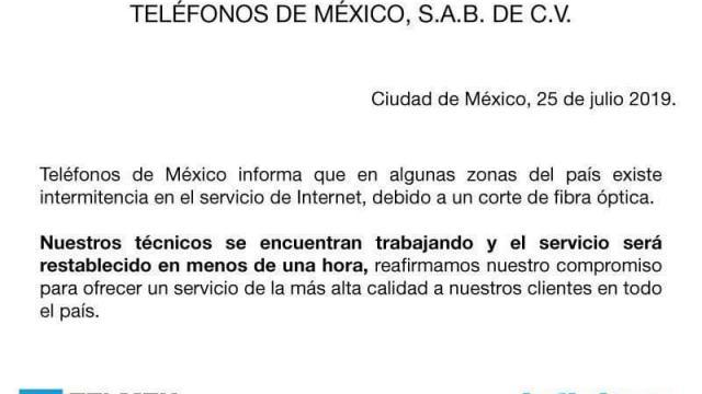 Servicio de Internet de Telmex reporta fallas