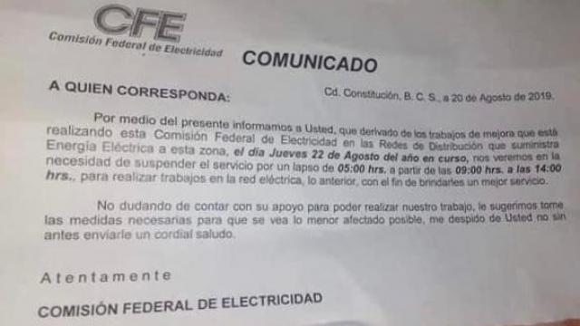 CFE suspenderá por cinco horas servicio en domicilios notificados