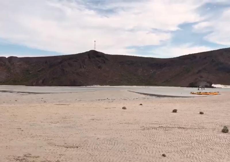 Está sin agua la playa Balandra por fenómeno de marea baja