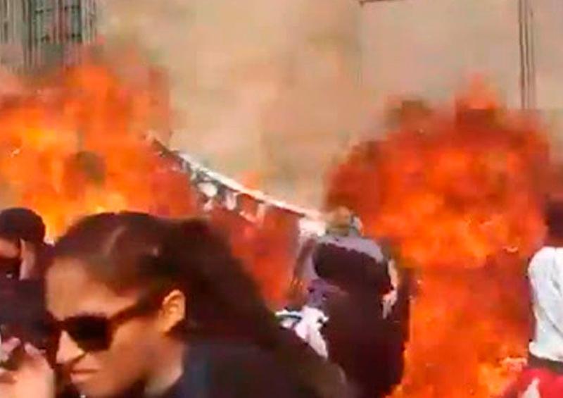 Autoridad busca a mujer que lanzó explosivo a Palacio Nacional