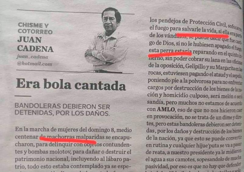 "Despiden columnista por llamar ""machorras"" a feministas"
