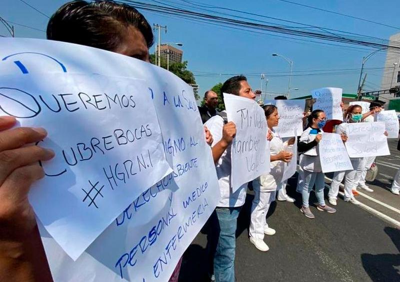 Protestan médicos del IMSS por falta de protocolos y equipo para atender coronavirus