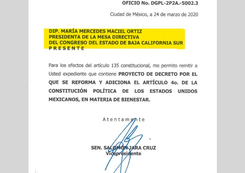 Reconoce Senado presidencia de Mercedes Maciel en el Congreso de BCS