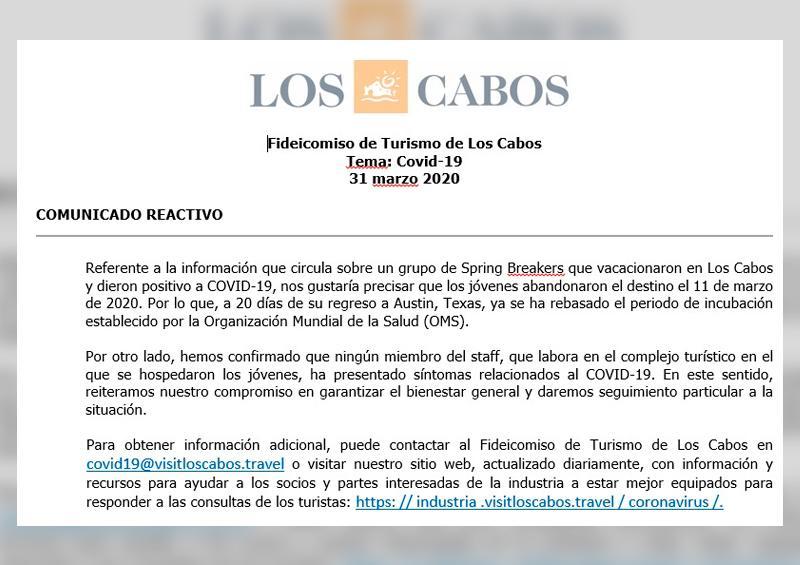 Empresarios de Los Cabos desmienten que Spring Breakers contrajeran Covid19 en el municipio