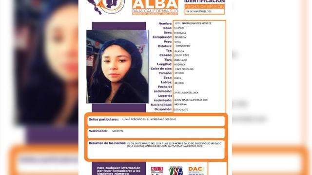 Menor de edad desaparecida en La Paz
